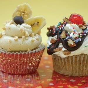 Daño de plátano vegano hasta receta de cupcakes